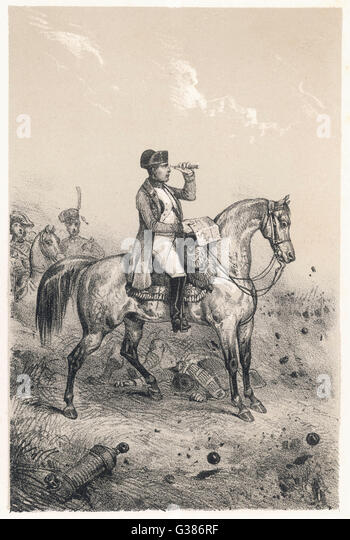 NAPOLEON I riding Ali, at the battle of  Marengo, 14 June 1800        Date: 1769 - 1821 - Stock Image