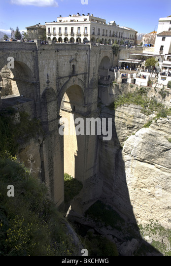 A view of the New Bridge over the Canyon of Ronda, Malaga Province, Spain, March 22, 2008. Photo/Chico Sanchez - Stock Image