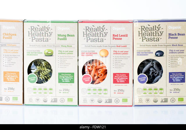 Really Healthy Pasta. A selection of alternative pastas. - Stock Image