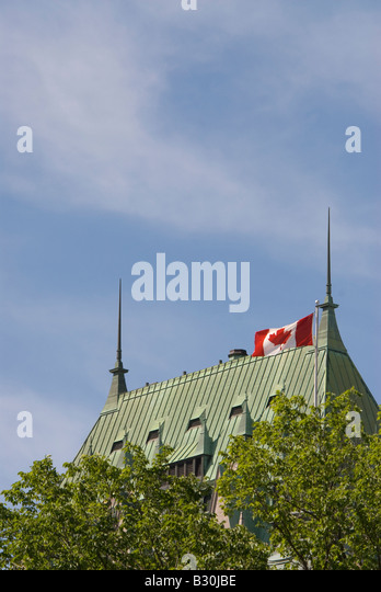 Chateau Frontenac grand hotel historic old Quebec City famous landmark building architecture copper metal roof  - Stock Image