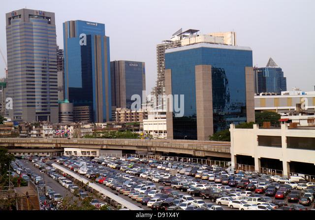 Bangkok Thailand Chatuchak Phaholyothin Road Mo Chit Station Bangkok Mass Transit System BTS Skytrain view car parking - Stock Image