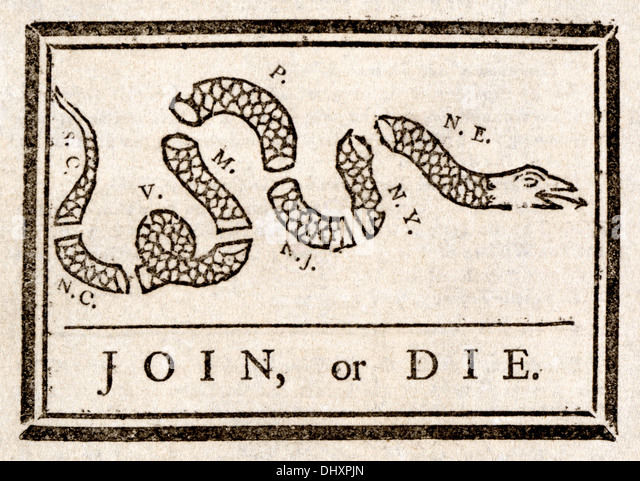 Join, or Die - by Benjamin Franklin, 1754 - Stock Image
