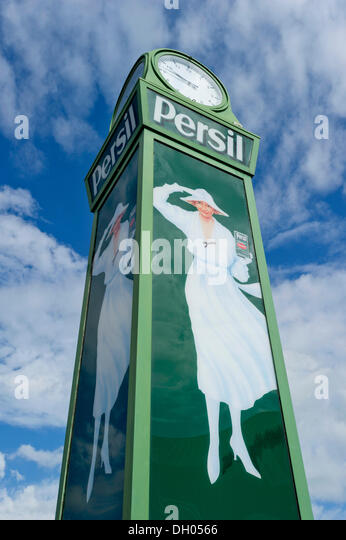 Nostalgic 'Persil'-Clock with the advertisement picture of the 'white lady', Straubing, Lower Bavaria, - Stock-Bilder