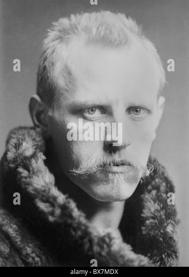 Portrait photo circa 1890s of Norwegian Arctic explorer, scientist, diplomat and humanitarian Fridtjof Nansen (1861 - Stock Image