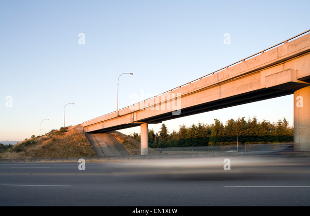 Highway overpass, Vancouver, British Columbia, Canada - Stock Image