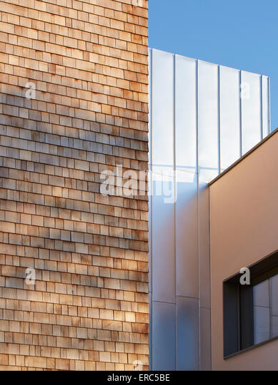 Facade juxtaposition. Herefordshire Archives, Hereford, United Kingdom. Architect: Architype Limited, 2015. - Stock Image
