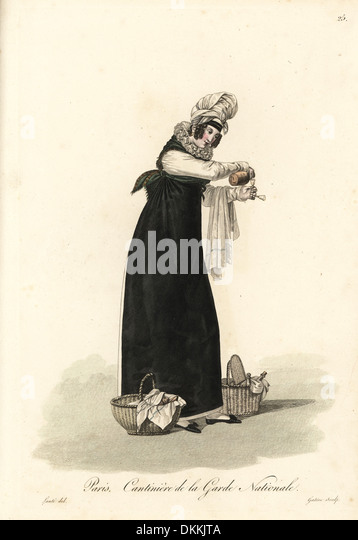 Sutler to the National Guard, Paris, early 19thC, with baskets of food.. - Stock Image