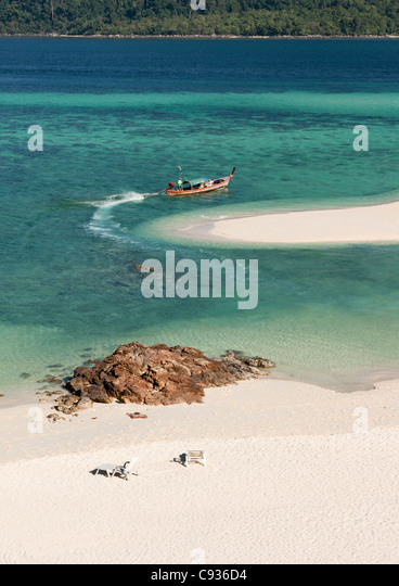 The famous white strip of sand on Ko Lipe,Thailand - Stock Image