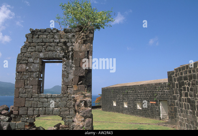 dominica fort shirley cabrits national park restored stone buildings at  historic landmark toursit attraction near - Stock Image