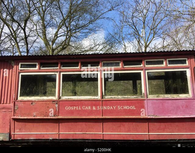 Gospel car and Sunday School, an abandoned carriage, Ironbridge Gorge, Shropshire, England - Stock Image