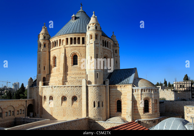Assumption church on the Sion mount (1898-1910), Jerusalem, Israel - Stock Image