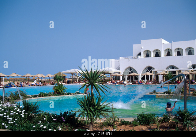 Beach resort, hotel, Djerba, Tunisia, North Africa - Stock Image