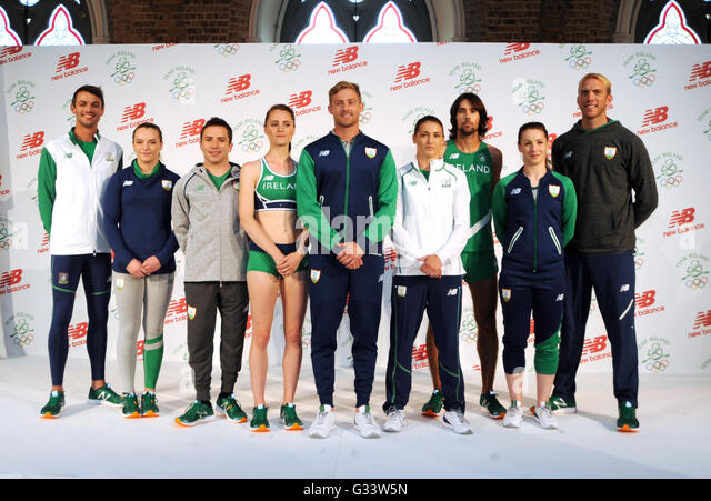 Irish Olympic team 2016 members (left-right) Thomas Barr, Ellis O'Reilly, Oliver Dingley, Ciara Mageean, Arthur - Stock Image