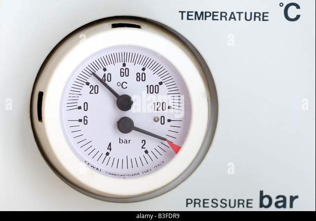 'Central heating' temperature and pressure gauge - Stock Image