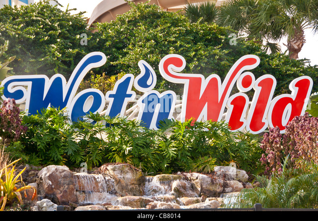 Wet 'n Wild water theme park sign on International Drive I-Drive Orlando Florida - Stock Image