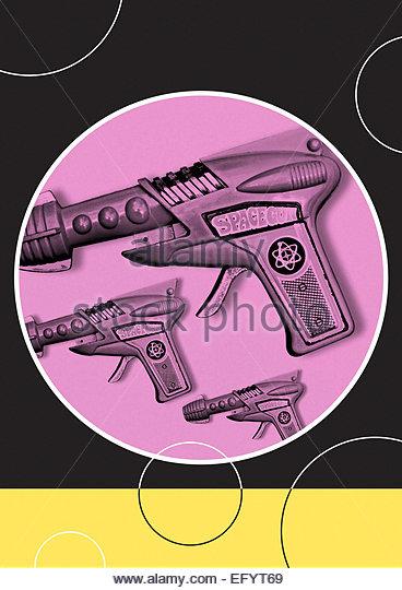 Vintage space gun repeat retro illustration - Stock-Bilder
