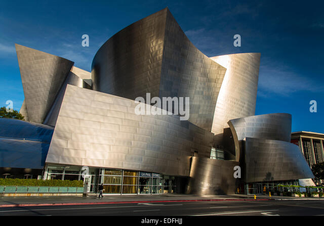 The Walt Disney Concert Hall designed by Frank Gehry, Los Angeles, California, USA - Stock Image