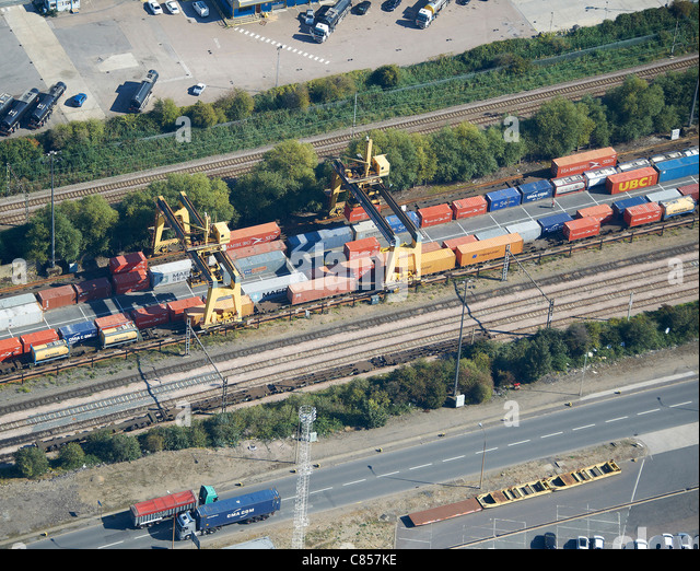 Container Road-Rail Terminal, Tilbury Essex, South East England - Stock Image