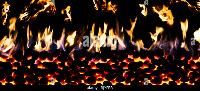 flaming Fire Wall - Stock Image