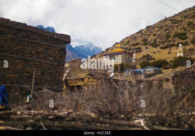 Landscape Photo Himalays Mountains Spring Village.Asia Nature Morning Viewpoint.Mountain Trekking View.Horizontal - Stock Image
