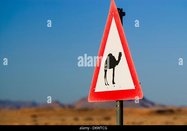 Namibia, Naukluft Desert Africa yield to camel sign - Stock-Bilder