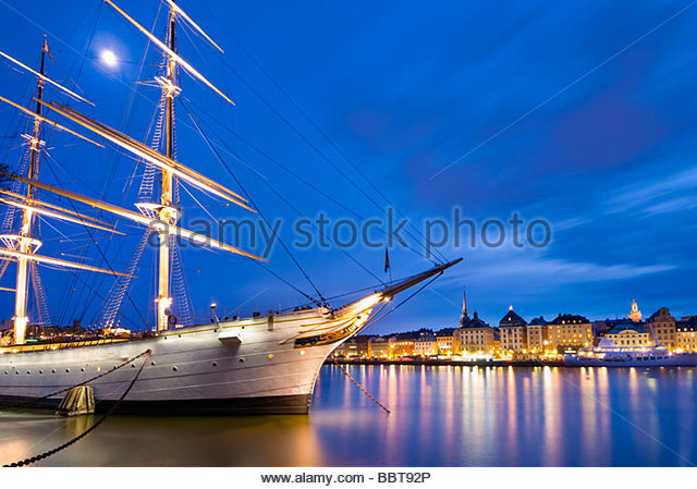 The Schooner, Af Chapman, moored near the old town of Stockholm, Sweden. - Stock Image
