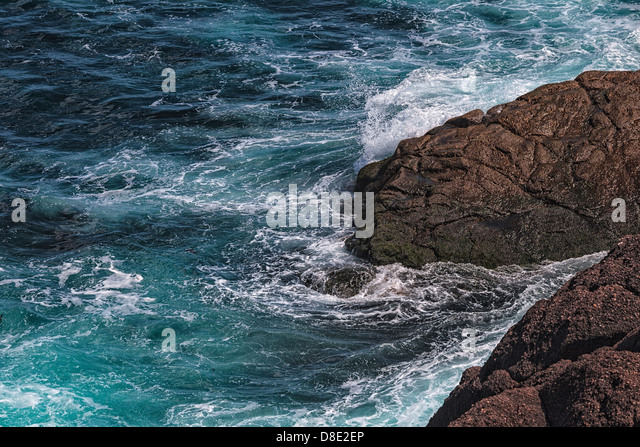 Violent Ocean Hits the Rocks at Cape Spear, Newfoundland - Stock Image