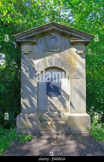 Memorial to Thomas Boulsover the inventor of Sheffield Plate, Whiteley Woods, Sheffield, South Yorkshire, England, - Stock Image