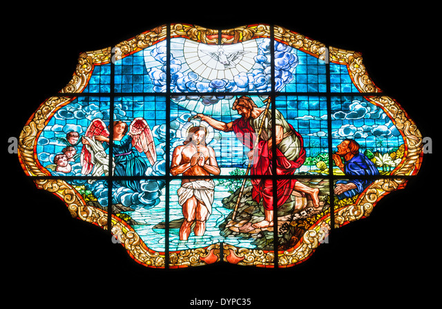 A stained glass at a church in Finale Ligure, Italy, EU - Stock-Bilder