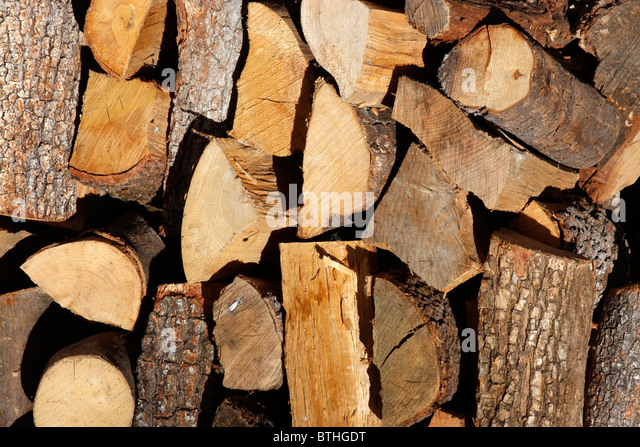 Wood pile stocked for winter in Le Marche,Italy. - Stock Image