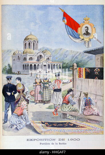 Illustration showing the Serbian Pavilion, at the Exposition Universelle of 1900. Inset is a portrait of King Alexander - Stock Image