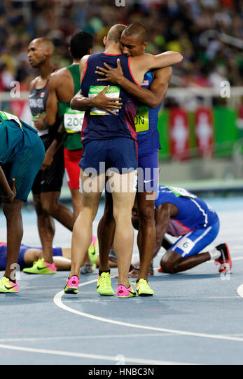 Rio de Janeiro, Brazil. 18 August 2016.  Athletics, Ashton Eaton (USA)  and Kevin Mayer (FRA) after completing the - Stock Image