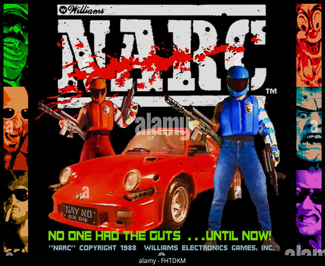'Narc' arcade game title screen, produced by Williams in 1988 a violent depiction of the war on drugs featuring - Stock Image