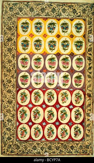 Textile design. India, 18th century - Stock Image