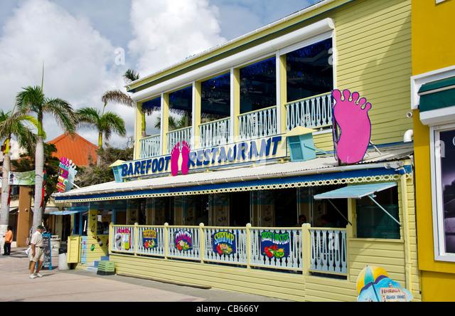 Barefoot Restaurant on Front Street, Philipsburg, St Maarten - Stock Image