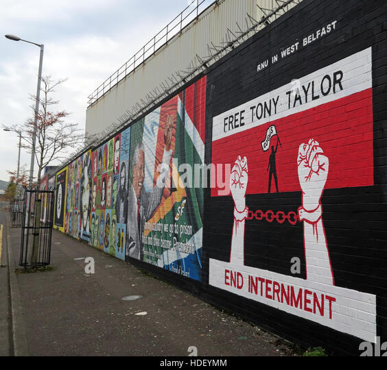 Free Tony Taylor - End Internment - International Peace Wall,Cupar Way,West Belfast, Northern Ireland, UK - Stock Image