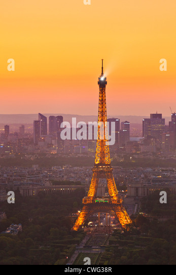 Paris skyline at sunset showing the Eiffel tower and surrounding areas France EU Europe - Stock Image