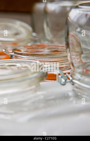 Mason Jars - Close-up view - Stock Image
