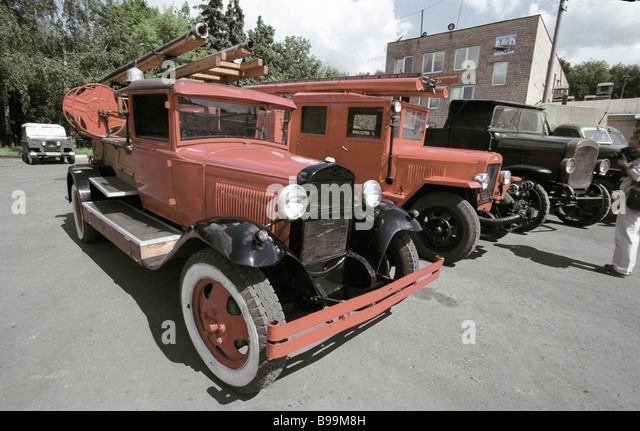 Collection of vintage cars Mosfilm studio - Stock Image