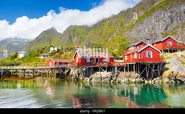 Fishermen red wooden huts rorbu, Lofoten Islands, Norway - Stock-Bilder