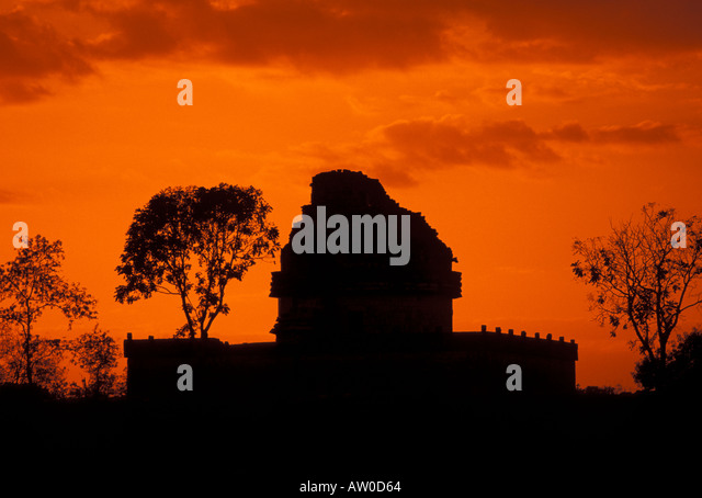 Chichen Itza Sunset at the Observatory or El Caracol - Giant Conch Snail - Stock Image