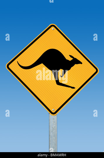A kangaroo warning sign Australia - Stock Image