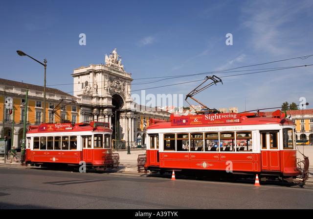 Portugal Lisbon Portugal Lisbon Praca de Commercio Tram Electrico - Stock Image