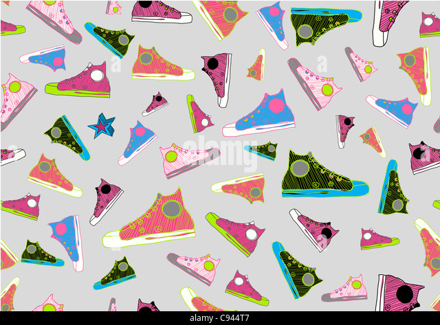 Retro Seamless Pattern made of cool hand-drawn sport shoes in different colors. - Stock-Bilder