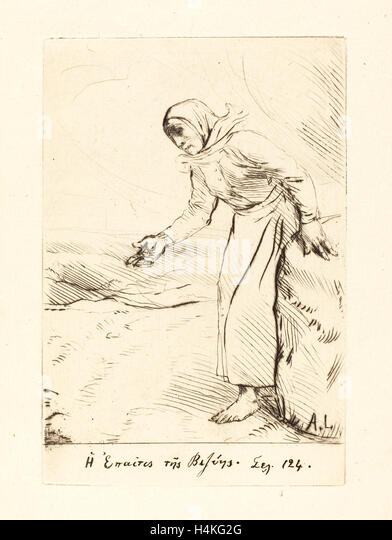 Alphonse Legros, Frontispiece (The Beggar Woman of Veze), French, 1837-1911, etching - Stock-Bilder