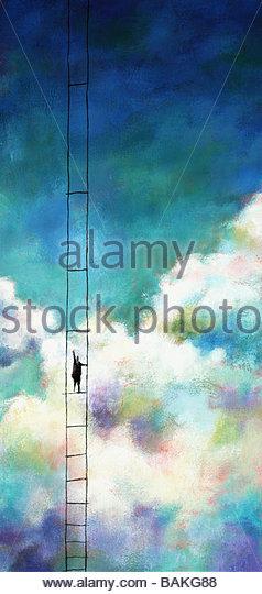 Ladder in the Sky - Stock-Bilder