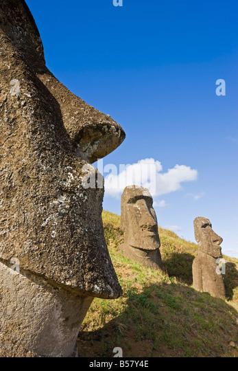 Giant monolithic stone Moai statues at Rano Raraku, Rapa Nui (Easter Island), UNESCO World Heritage Site, Chile, - Stock Image