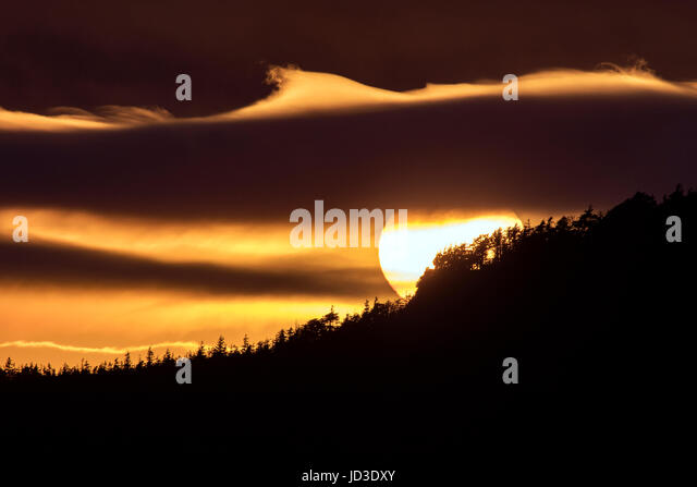 Sunset in Rocky Harbour - Gros Morne National Park, Newfoundland, Canada - Stock Image