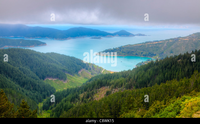 Bird's eye view of Oyster Bay near Picton in New Zealand - Stock Image