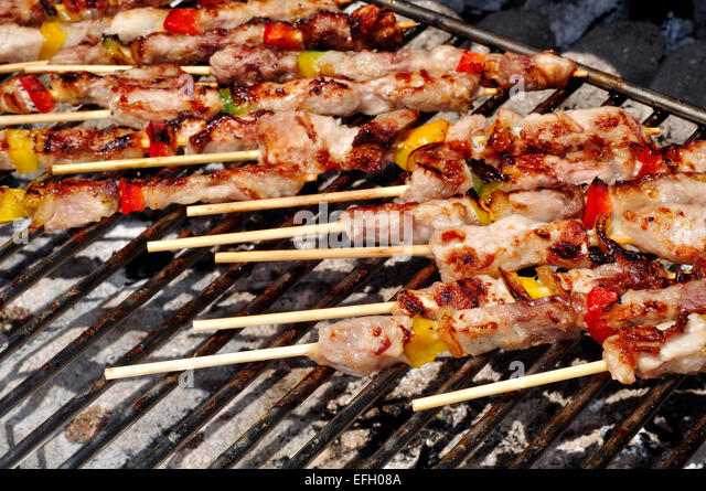 Meat and Vegetable on Barbecue - Stock Image